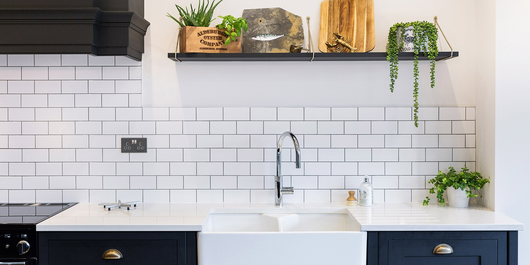 Nautical Themed Shaker Kitchen - Burlanes handmade Hoyden kitchen with belfast sink, Quooker boiling water tap and beautiful white metro tiles.