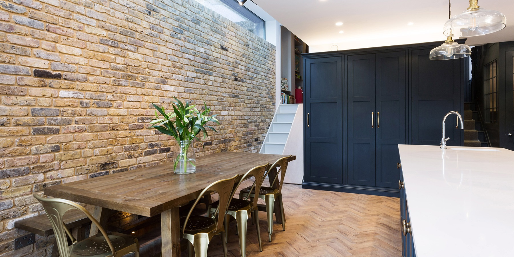 Beautiful Kitchen Extension With Skylights & Authentic Rustic Decor - A South East London townhouse kitchen extension with original brick walls, sky lights and authentic industrial style kitchen and decor.