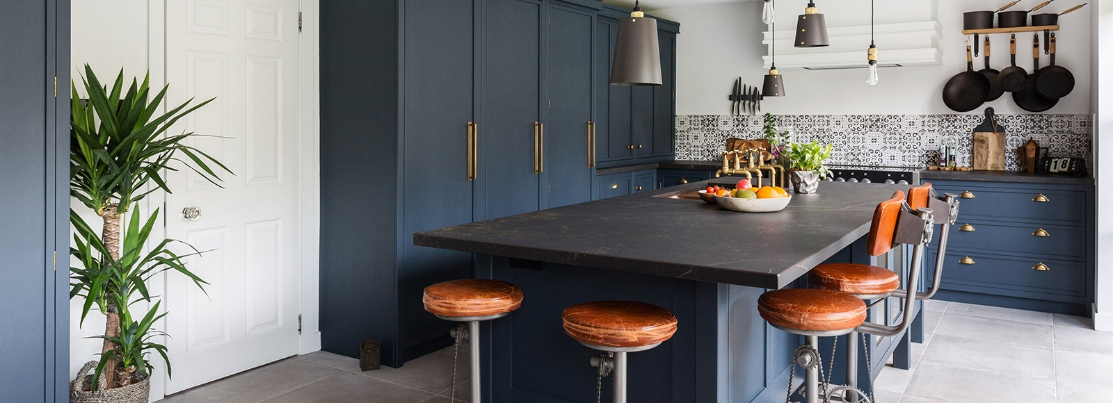 Industrial Navy Blue Shaker Kitchen - Burlanes handmade Decolane kitchen with larder, island and breakfast bar and amazing copper sink.