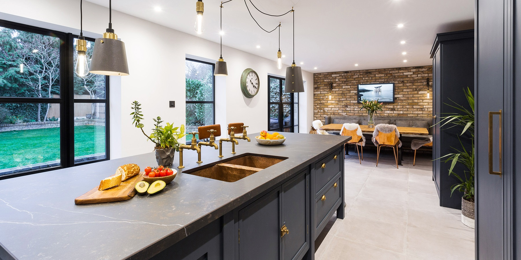 Industrial Navy Blue Shaker Kitchen - Burlanes bespoke Decolane kitchen, designed and handmade in the UK.