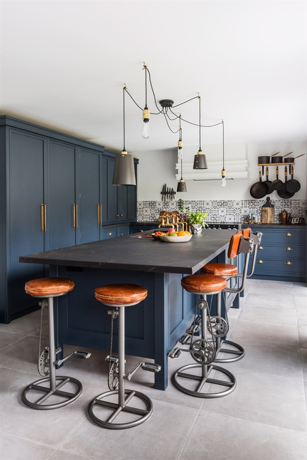 Industrial Navy Blue Shaker Kitchen - Burlanes handmade Decolane kitchen with central kitchen island, larder units and beautiful copper sink.