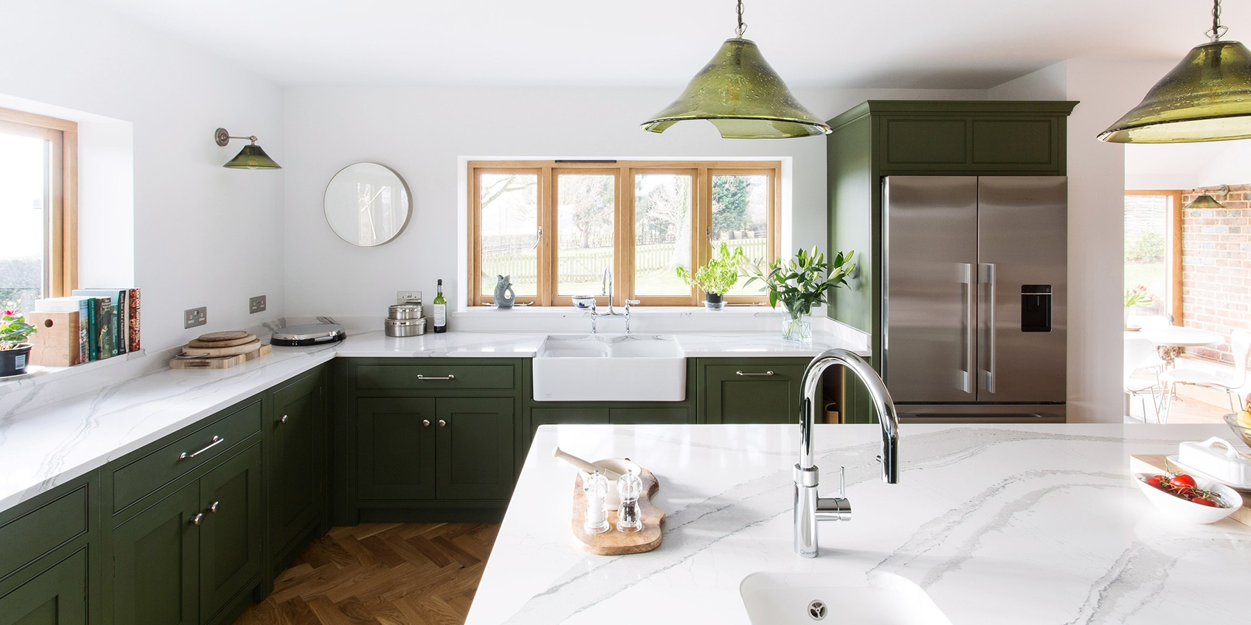 Classic Shaker Kitchen With Central Island - Burlanes bespoke Wellsdown kitchen with central kitchen island and Belfast sink.