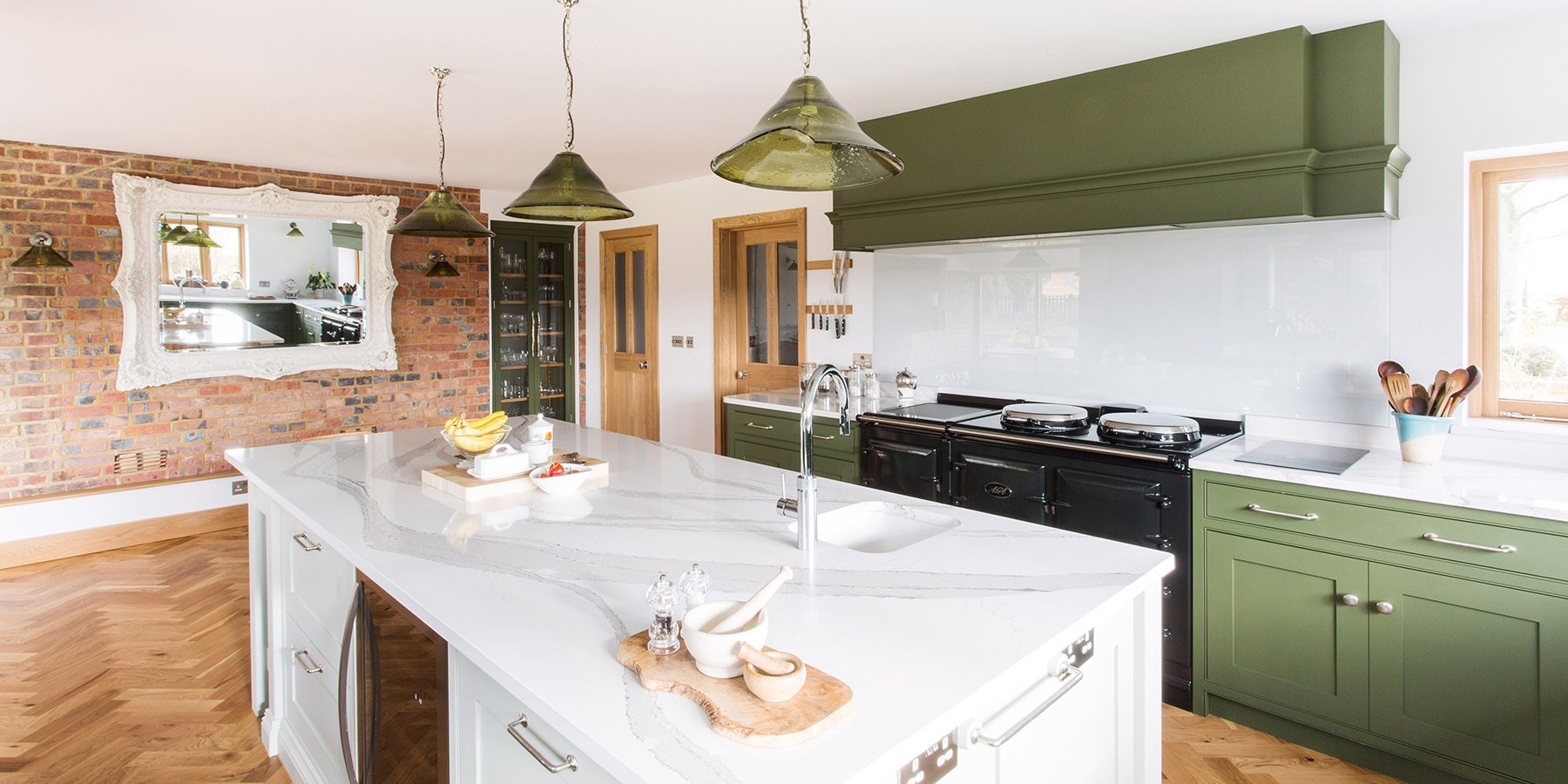 Classic Shaker Kitchen With Central Island - Burlanes handmade Wellsdown kitchen with central island, white worktops and AGA Total Control.