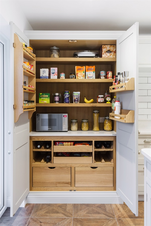 Burlanes Bespoke Larder - Burlanes handmade larder unit with adjustable shelves and spice racks.