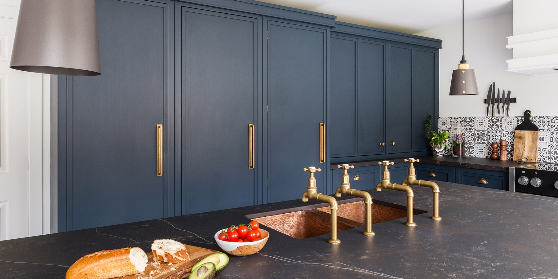 Burlanes Decolane Kitchen - Handmade Burlanes Decolane industrial style kitchen with central island, and floor to ceiling cabinetry.