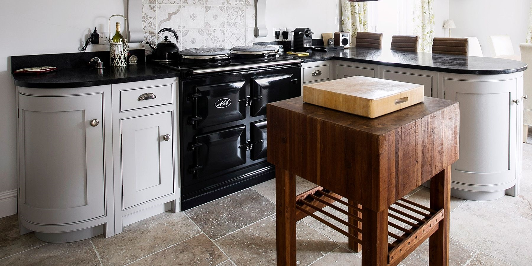 Burlanes Country Kitchen With Ca'Pietra Stone Flooring - Burlanes handmade country kitchen with beautiful natural stone floor tiles by Ca'Pietra.