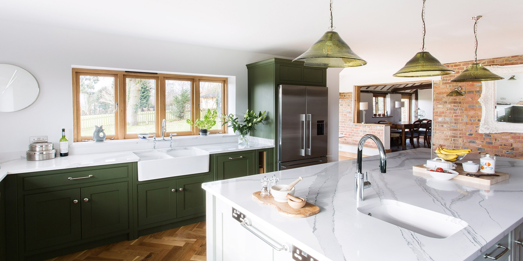 Country Style Shaker Kitchen - Burlanes bespoke Wellsdown country kitchen with large central kitchen island.